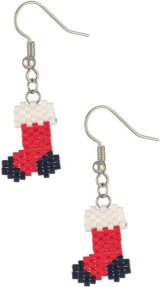 PRETYZOOM Christmas Earrings Christmas Stocking Hoop Earrings Handmade Earrings Dangler Holiday Jewelry for Women Teens Girls Gift (3 Colors)