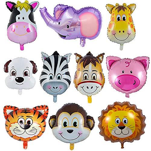 Folienballon Tiere,10 Stück Tierkopf Ballons,Dschungel Tierballons,Animal Head Luftballons Tiere Kindergeburtstag,Helium ist Erlaubt,Perfekt für Kinder Geburtstag Party Dekoration (10pcs)