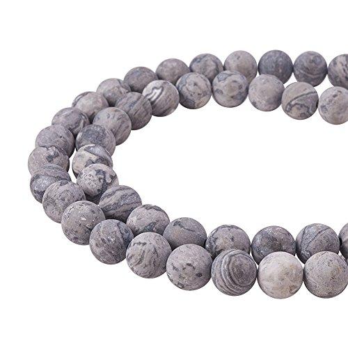 PandaHall Elite Frosted Natural Picasso Stein Perlen Stränge für die Schmuckherstellung, rund, 8 mm, Loch: 1 mm; etwa 15,3 Zoll lang