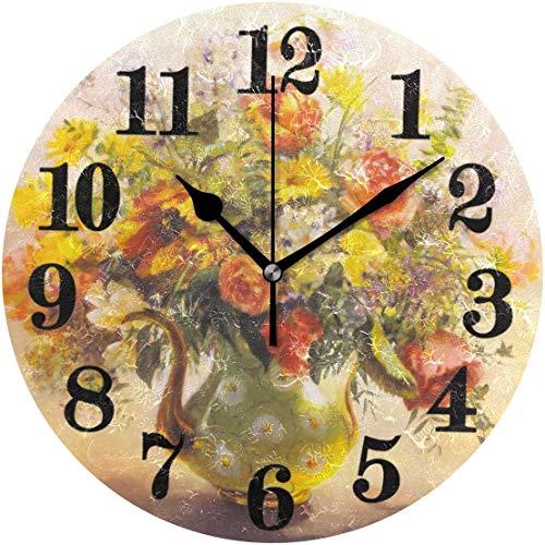 gardenia store - Reloj de Pared Redondo para Acuarela, diseño de Margaritas y Flores, no se calienta con Pilas de Cuarzo