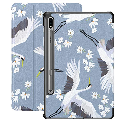 Funda para Samsung Galaxy Tab S7 Plus Galaxy Tab S7 con diseño de grúa japonesa y pájaros voladores con flor para Samsung Galaxy Tab S7 11 pulgadas S7 Plus 12.4 Inc