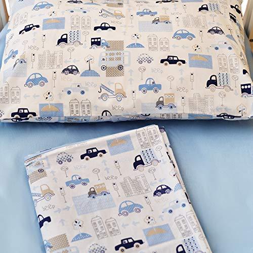 Cangoo Set de 3 sábanas para cuna, ropa de cama para bebés, 60x120cm, 100% algodón, sábana reversible, cochecitos azules, gran regalo