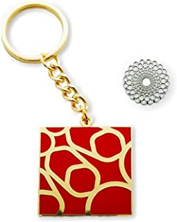Expo 2020 Dubai Symbol Pin Silver and Square Keyring Red Pack of 2