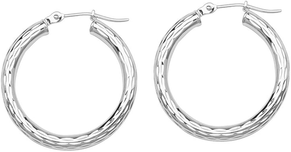 Hoop Earrings, 10Kt Gold 3X20mm Round Tube - Fdiamond Cut, Shiny, Full Diamond Cut, Full Rhodium