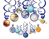 HADEEONG Space Hanging Decor, Solar System Hanging Swirl Party Supplies Space Happy Birthday Banner for Boys Girls Kids Space Themed Planets Birthday Party Favor Supplies 30PCS