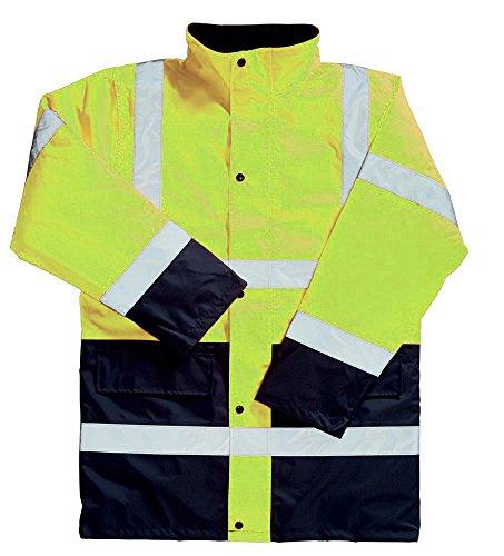 Workwear World Giacca da Lavoro Impermeabile a Due tonalità a Contrasto ad Alta visibilità. Giallo/Blu Navy. 2XL
