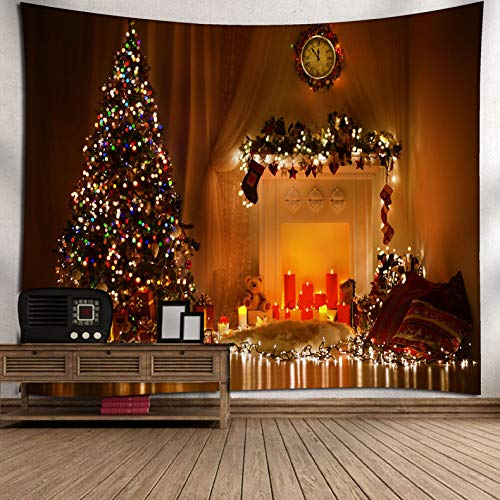 xkjymx Navidad Tapiz de Viento Navidad muñeco de Nieve árbol de Nieve Campana patrón Colgando Linterna árbol de Navidad 180 * 180 cm