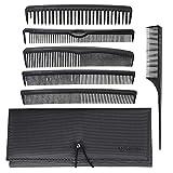 T4B LUSSONI Professional Comb Set 7 Pezzi Pettini Professionali per Parrucchiere con Custodia, Diverse Misure, per Tagliare Barba e Capelli, Pettine a Denti Larghi e Stretti