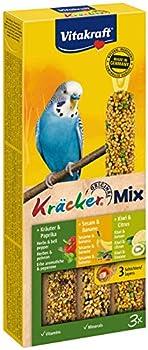 Vitakraft - 21237 - Kräcker Sésame & Banane / Herbe & Poivron / Kiwi & Citron Perruches P/3