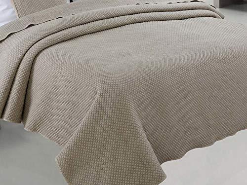 Euromat Zweiseitige Tagesdecke Bettüberwurf Steppdecke 1Tlg. Stone Washed Santana (Beige, 220x240 cm)