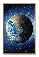 木製の枠 ズックの印刷する絵画 家の壁の装飾画 キャンバス ポスター (40x60cm ブラウンカラーフレーム) 宇宙の美しい青い地球、星光