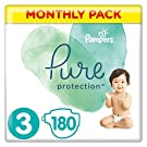 Pampers Pure Protection Size 3, 180 Nappies, 6-10 kg, Monthly Saving Pack, Made with Materials Containing Premium Cotton and Plant-Based Fibres