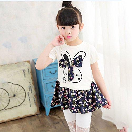 Gugutogo Karikatur-Kaninchen-Druck-kleine Mädchen-Prinzessin Dress Nette reizende Blumen-Kinder-Kleid (Farbe: dunkelblau) (Größe: 110)