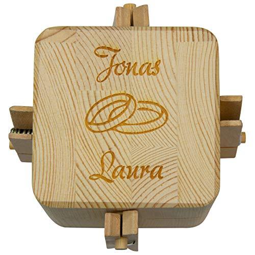 Beziehungskiste (2 Ringe) – zu zweit öffnen – gravierte Verpackung für Geldgeschenke für das Brautpaar – Geld verpacken für Hochzeitsgeschenke mit Gravur – Trickkiste personalisiert mit Namen