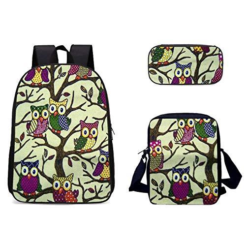 YUNSW 3D Handbemalte Blumen Schulrucksack Lunch Bag Federmäppchen, wasserdichte Schultasche Für Mädchen, Geeignet Für Den Schulgebrauch, Kinder Schultasche Set Rucksack, Mehrere Farben