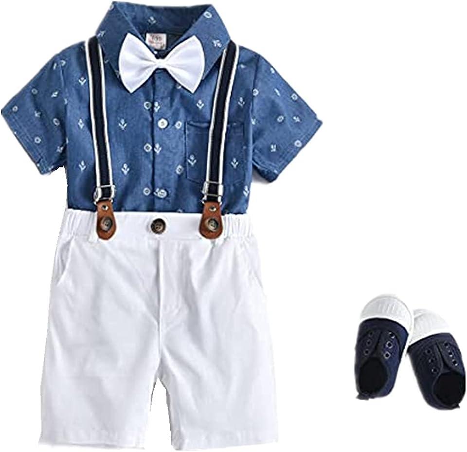 Kinder Jungen Sommer Kleidung Set Floral Revers Kurze Ärmel Shirt + + abnehmbare zurück Shorts Gentleman Hochzeit Outfit Anzüge Set Zwei Stück