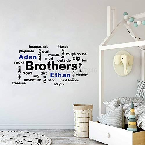 PMSMT Pegatinas de Pared con Nombres de niños Personalizados, calcomanías de Vinilo de Creative Brothers para habitación de niños