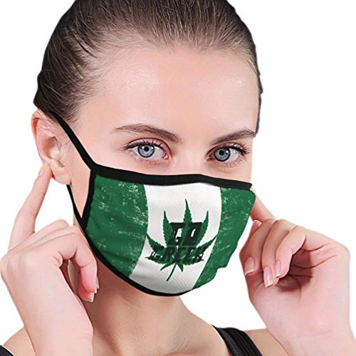 XUWEI Green Canada Legalize Concept with Marihuana Weed Leaf Cannabis Theme Retro Adult Light Ear-Hook Outdoor Mask for Sports, Shopping, Pesca, Montar a prueba de viento y calor, etc.