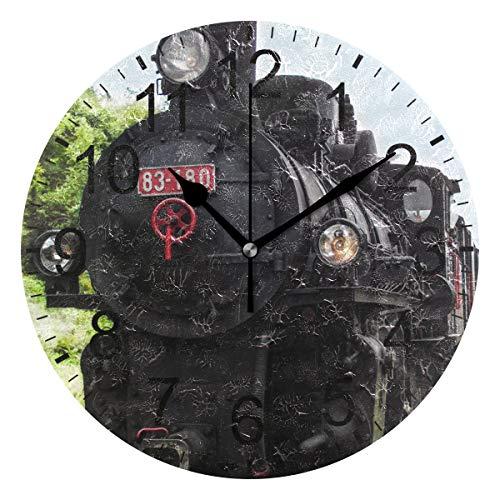 SENNSEE Wanduhr mit Eisenbahn und Dampfreinigung, dekorativ, für Wohnzimmer, Schlafzimmer, Küche, batteriebetrieben, rund