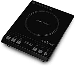 Countertop Burner, Infrared Cooktop, Ceramic Cookware, Electric Stovetop, Black Tempered Glass, LCD Display, Keep Warm, 1200W, 120V - NutriChef