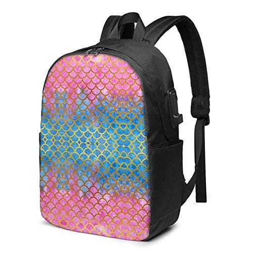 IUBBKI Bolsa para computadora mochila USB Ombre Beauty Merm-Aid Fish Scale 17 Inch Laptop Backpack For Men & Women,Travel/School Backpack With Usb Charging Port & Headphone Interface