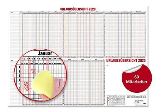 GÜSS Urlaubsübersicht f. 60 Mitarb. - m. Beschichtung: DIN A0-190 g/m² Postkartenkarton - 2-farbiger Druck - Schulferienübersicht - Zeilenhöhe: 6mm - Größe: 120 cm x 84cm