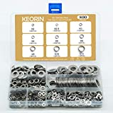 KEORIN 800 Pieces 304 Stainless Steel Flat Washer Assortment Set, Included 9 Sizes -M2 M2.5 M3 M4 M5 M6 M8 M10 M12
