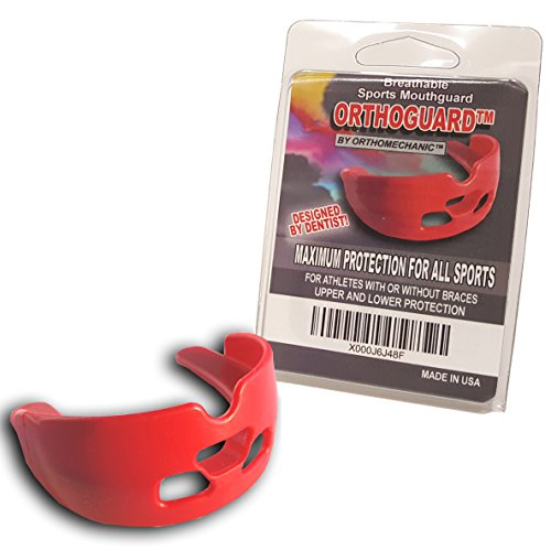 Orthomechanic Orthodontic Mouth Guard Orthoguard - Designed for Athletes with or Without Braces - Breathable Strapless Dual Mouthguard - Red