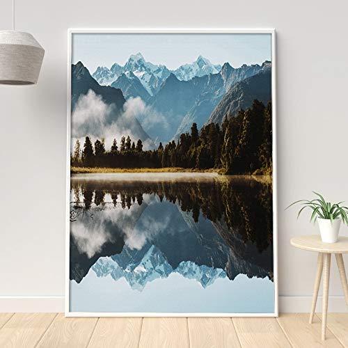 yhyxll Landschaft Nordic Poster Berg Wandbilder Für Wohnzimmer Fluss Wandkunst Leinwand Malerei Wald Poster Und Drucke Ungerahmt 30X40cm