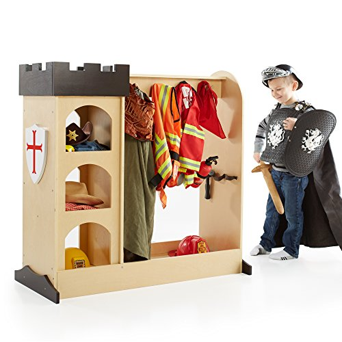Guidecraft Castle Dramatic Play Storage: Themed Dresser with Mirror and Safe Hooks, Dress Up Armoire for Kids - Toddlers Costume Organizer, Children Playroom Furniture