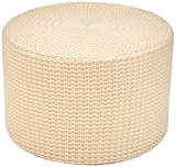 Amazon Basics Knit Foam Floor Pouf Ottoman, Beige