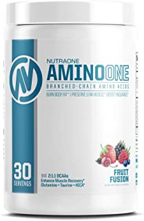 AminoOne BCAA Powder Supplement by NutraOne – Branched Chain Amino Acids to Help Fuel and Recover (Fruit Fusion - 30 Servings)