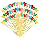 Palillos de bambú desechables, 5.1 pulgadas multicolor tulipán apetitoso palillos de dientes largos hechos a mano, brochetas de frutas, cócteles, postres, sándwiches, decoración para(100 unidades)