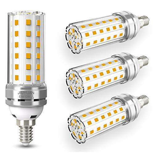 12W E14 Lampadine LED di mais, LED Lampadina Candelabro, 100W equivalenti a incandescenza, 360° Luce Bianco Calda 3000K, 1450LM, CRI>80+, non dimmerabile,Edison Lampadina Mais-4 pezzi