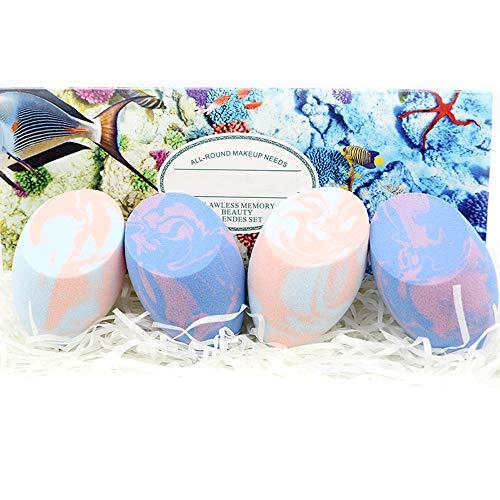 LETGO Maquillaje Fundación Esponja Maquillaje Cosmético Polvo Puff Suave Belleza Cosmética Maquillaje Esponja Marbling Blender Agua-gota Forma Puff (Helado Púrpura Rosa)