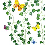 BKSAI Artificial Ivy Garlands 12 Pack 82FT with 12 PCS Butterfly Wallstickers Ivy Fake Plants Artificial Hanging Plants Outdoor Indoor Vine Wall Décor Garten Party Home Bedroom