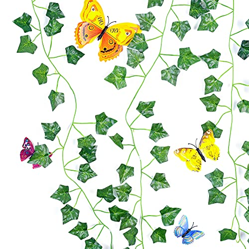 Guirnalda artificial de hiedra con 12 unidades, follaje con mariposa, adhesivo de pared