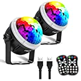 OMERIL Party Lights Disco Balls, 2 Pack USB Powered 11 RGBY Color Disco