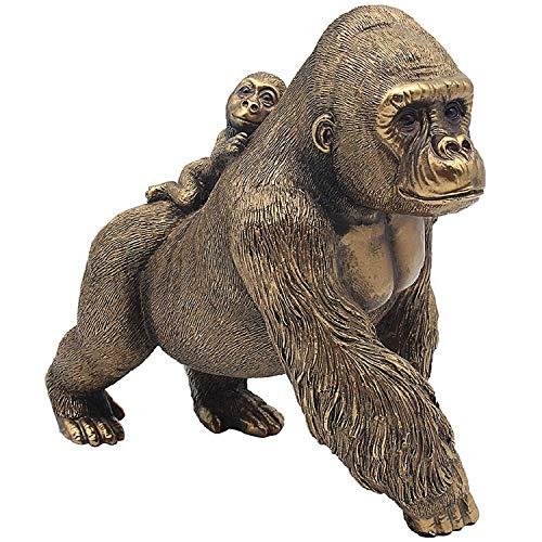 Lesser & Pavey - Figura decorativa de gorila y bebé bronce