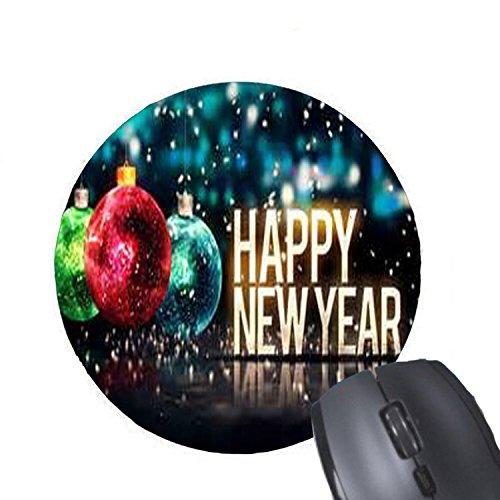 Alfombrilla de ratón redonda con diseño de bola de Navidad con número 2018