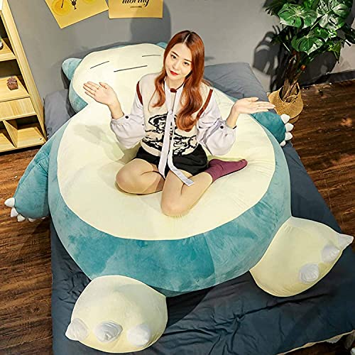 HCSXMY Snorlax Bean Bag Chair Cover - Unstuffed Snorlax Plush Toy with Zipper for Girlfriend Birthday Gift (150CM, Normal Face)