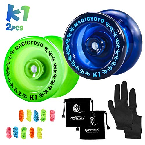 MAGICYOYO Pack of 2 Responsive YoYo, K1 Plus Dark Blue,Grow Green,Hubstack Plastic Yoyos for Kids Basic Yo-yo with 10 Yoyo Strings, 2 Yoyo Bags, 2 Yoyo Gloves, Ideal Gift Yoyo for Kids.