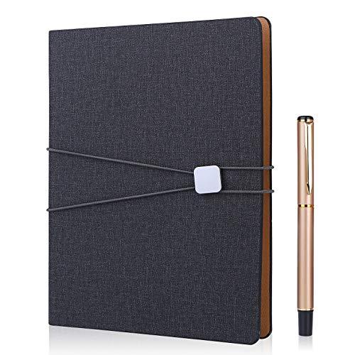 FOBOZONE Cuaderno de lino A5, rellenable hojas sueltas, clásico forrado con bolsillo, diseño de banda elástica, 100 hojas de papel de 100 g/m², color negro ✅