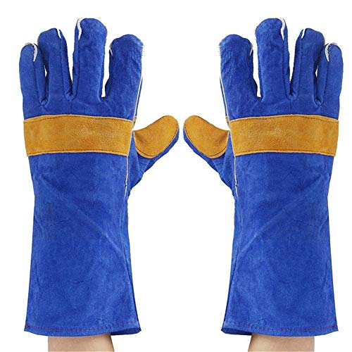NBHBSZY 2 pairs of leather welding gloves, protective cotton jacket, with elastic cuffs, heat, fire, puncture resistance, oil resistance