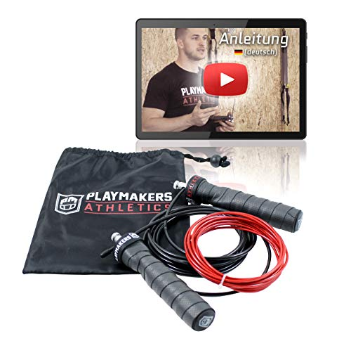 Playmakers Speed Rope Springseil mit Videoguide | Rutschfreie Griffe, Professionelles Kugellager, 2 verstellbare Stahlseile | Ideal für Seilspringen Fitness, Crossfit, Boxen, Outdoor Training