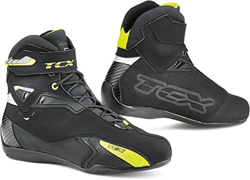 TCX Rush WP - Botas de Moto (Talla 43), Color Negro y Amarillo Fluorescente