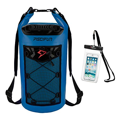 Piscifun Waterproof Dry Bag Backpack 10L Floating Dry Backpack with Waterproof Phone Case for Water Sports - Fishing Boating Kayaking Surfing Rafting Camping Gifts for Men and Women Sapphire Blue