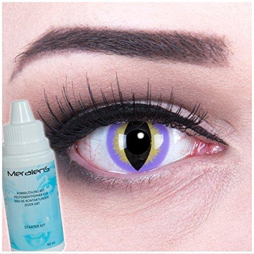 EIN PAAR Farbige Crazy Fun 14 mm 'Purple Dragon' Kontaktlinsen mit gratis Linsenbehälter und Kombilösung. Perfekt für Fasching!