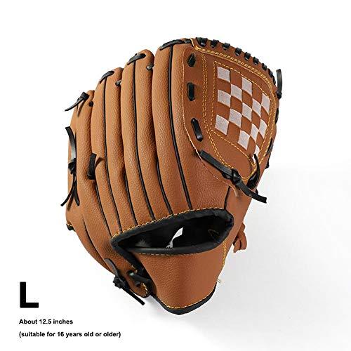 Guante de béisbol para niños para zurdos, guantes de bateo de piel para jóvenes, guantes de béisbol para principiantes, 10,5 pulgadas / 11,5 pulgadas / 12,5 pulgadas, color marrón, tamaño large