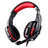 KOTION EACH G9000 Gaming Headset, 3.5mm LED Light Game Headset for PlayStation 4 PS4 with Microphone for Laptop, Tablets, Computers, iPhone and Smartphones (Blue in Black)